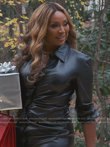 Cynthia's black leather ruched shirtdress on The Real Housewives of Atlanta