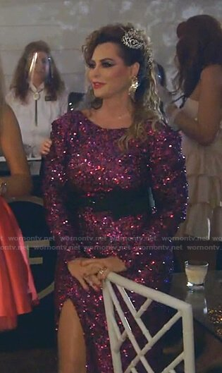 D'Andra's purple sequin slit dress on The Real Housewives of Dallas