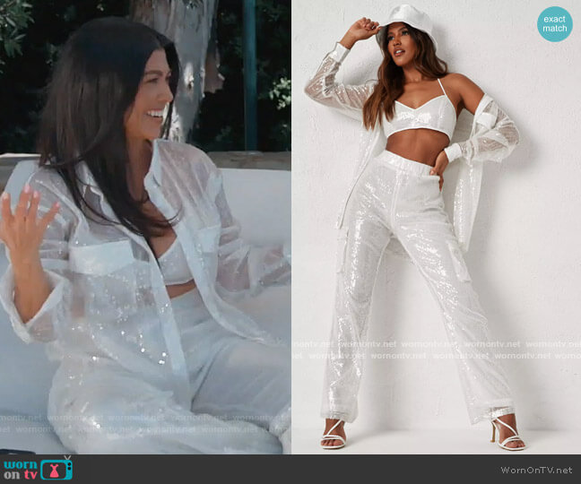 Dani Michelle x white co ord sequin bralette dress and pants by Missguided worn by Kourtney Kardashian  on Keeping Up with the Kardashians