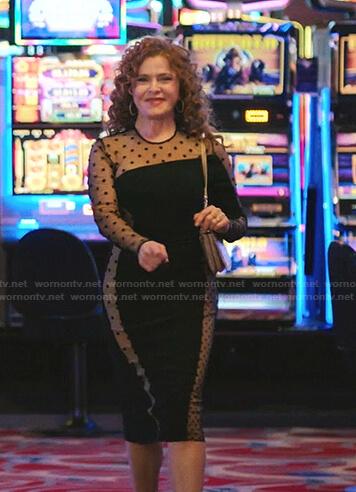 Deb's black polka dot mesh panel dress on Zoeys Extraordinary Playlist