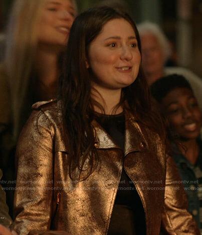 Debbie's metallic moto jacket on Shameless
