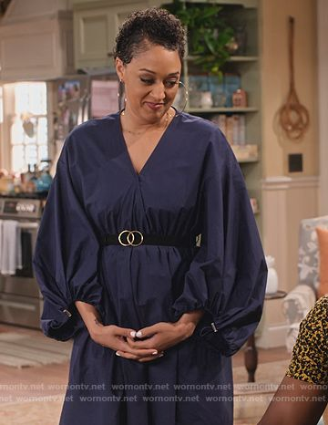 Cocoa's blue poplin dress with puff sleeves on Family Reunion