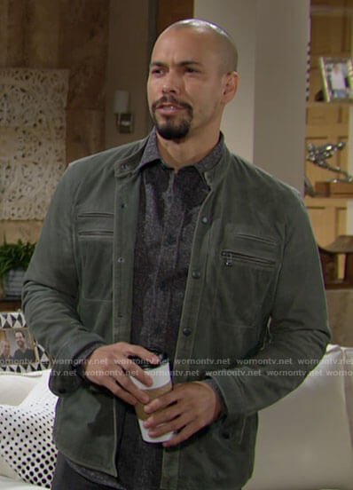 Devon's green suede jacket on The Young and the Restless
