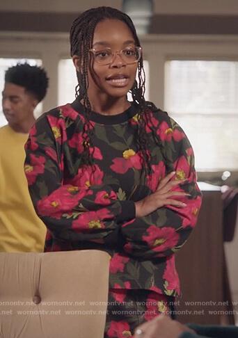 Diane's floral print sweatshirt and pants on Black-ish