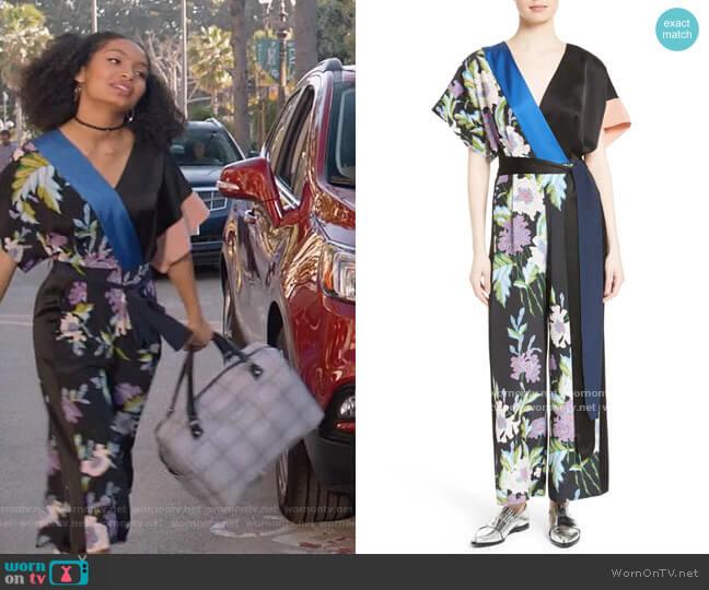 Faux Wrap Silk Jumpsuit by Diane von Furstenberg worn by Zoey Johnson (Yara Shahidi) on Blackish