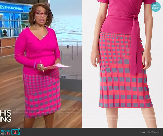 DVF Rosa Skirt in Pink Gray Gingham worn by Gayle King  on CBS This Morning