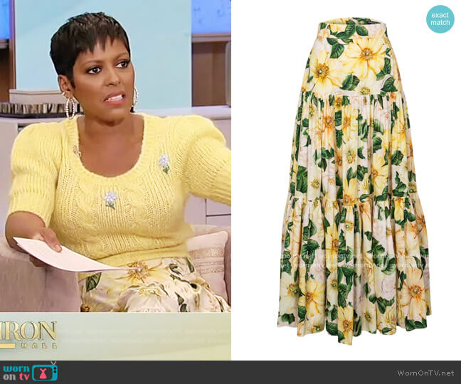 Camellia-Print Cotton Tiered Maxi Skirt by Dolce and Gabbana worn by Tamron Hall  on Tamron Hall Show