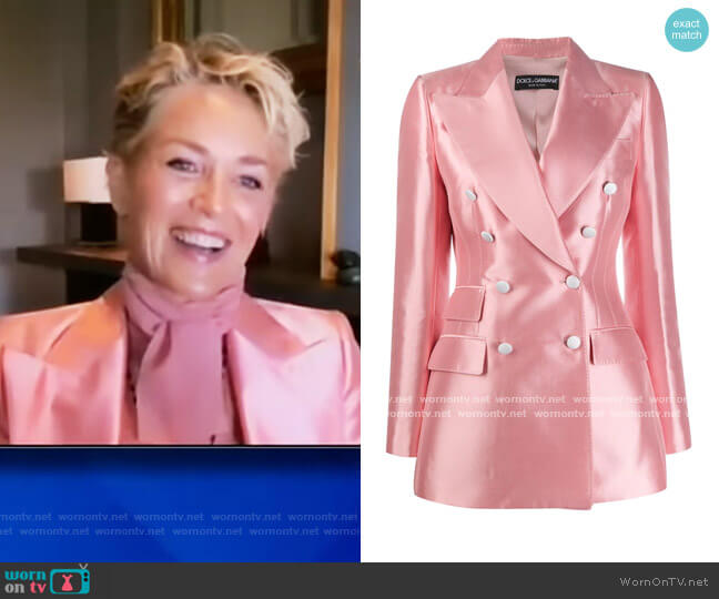 Double Breasted Shantung Blazer by Dolce and Gabbana worn by Sharon Stone on The View