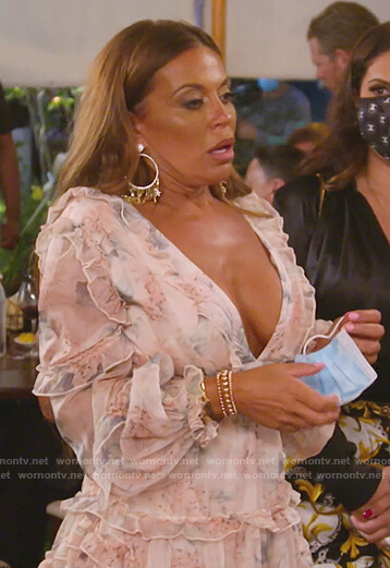 Dolores's pink floral cutout dress on The Real Housewives of New Jersey