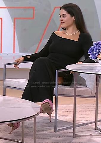 Donna's black asymmetric neck dress on Today