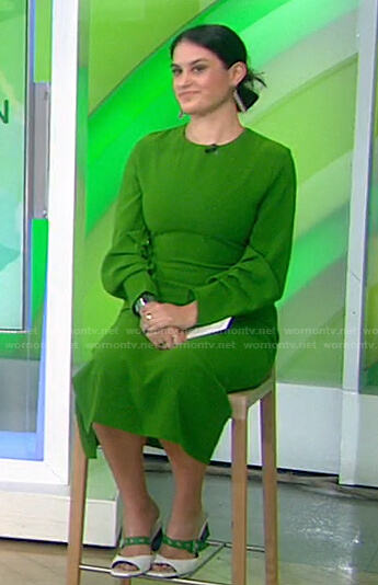 Donna's green ruched sleeve dress on Today