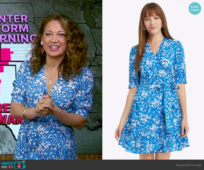 Wynonna Wrap Dress in Bluebell Shadow Floral by Draper James worn by Ginger Zee  on Good Morning America