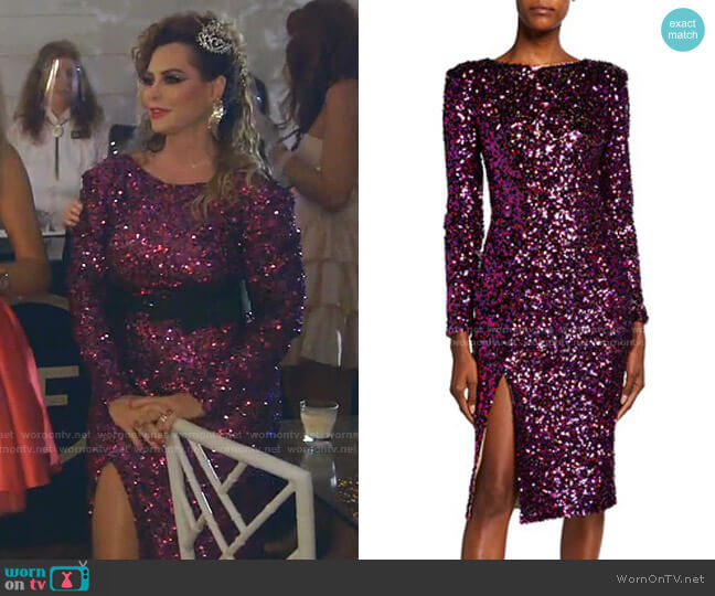 Natalie Sequined Thigh-Slit Dress by Dress The Population worn by D'Andra Simmons  on The Real Housewives of Dallas