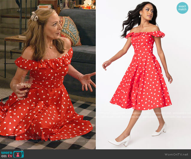 Magnolia Place Red & White Heart Print Barbara Swing Dress by Unique Vintage worn by Bonnie Plunkett (Allison Janney) on Mom