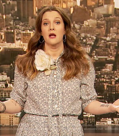 Drew's blue floral tie neck blouse and skirt on The Drew Barrymore Show
