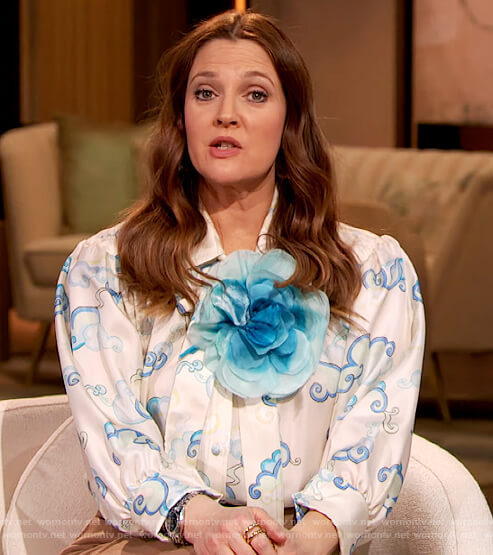 Drew's white printed tie neck blouse on The Drew Barrymore Show