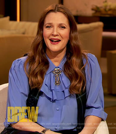 Drew's blue ruffle neck blouse on The Drew Barrymore Show