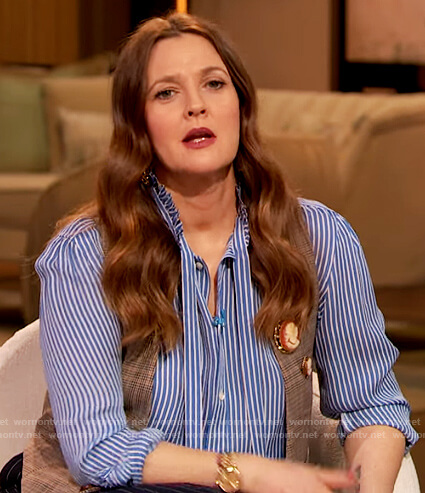 Drew's striped tie neck blouse on The Drew Barrymore Show