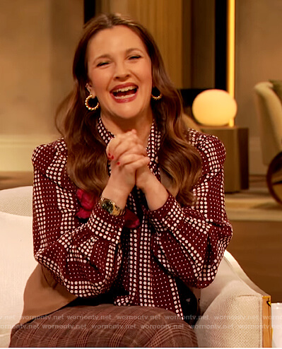 Drew's red dotted tie neck blouse on The Drew Barrymore Show
