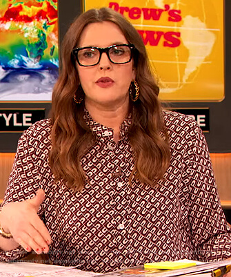 Drew's burgundy printed blouse and skirt on The Drew Barrymore Show