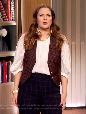 Drew's check vest and pants on The Drew Barrymore Show
