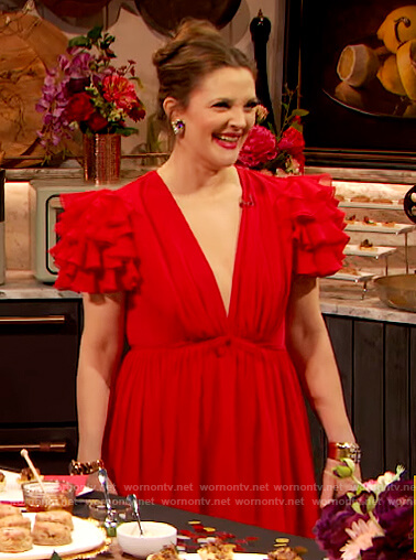 Drew's red ruffled shoulder dress on The Drew Barrymore Show