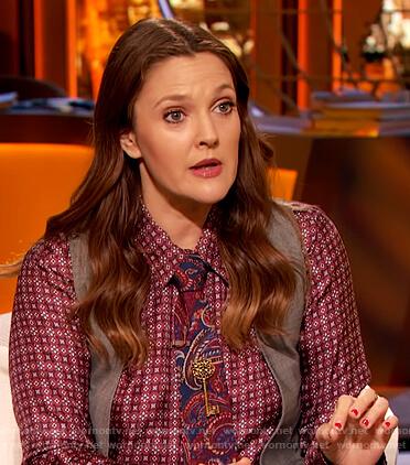 Drew's red geometric print shirt on The Drew Barrymore Show