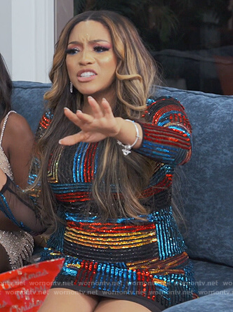 Drew's sequin stripe mini dress on The Real Housewives of Atlanta