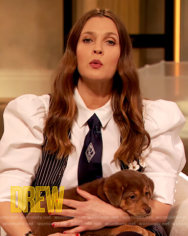 Drew's white puff sleeve blouse on The Drew Barrymore Show