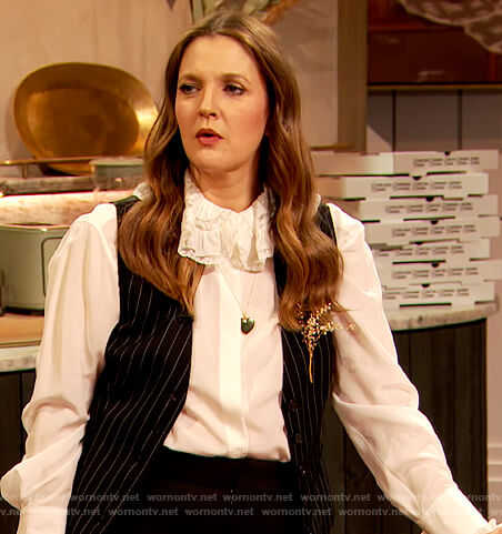 Drew's white lace collar blouse on The Drew Barrymore Show