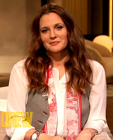 Drew's white contrast scarf blouse on The Drew Barrymore Show