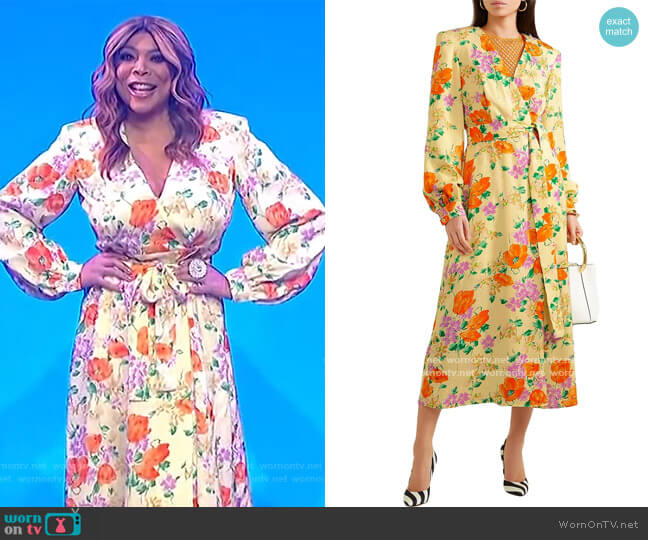 Floral-jacquard midi wrap dress by Dries Van Noten worn by Wendy Williams  on The Wendy Williams Show