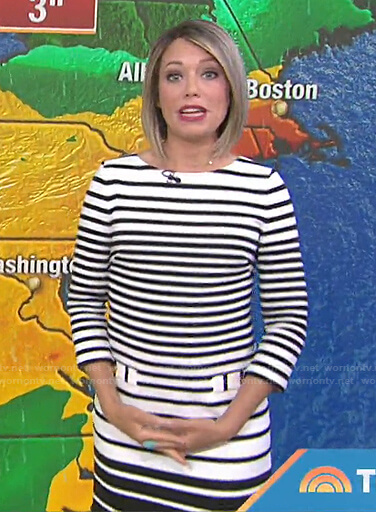 Dylan's white and black striped dress on Today
