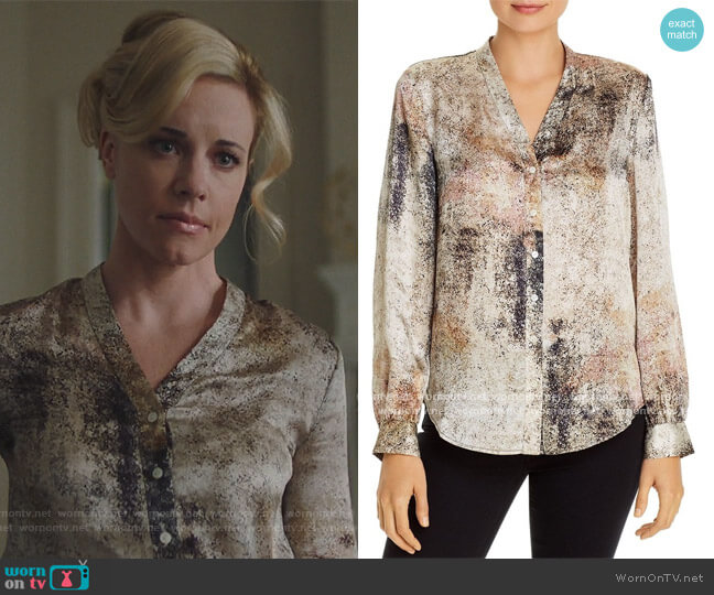 Silk Button-Front Blouse by Eileen Fisher worn by Kelly Anne Van Awken (Molly Burnett) on Queen of the South