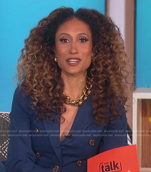 Elaine's blue double breasted blazer on The Talk