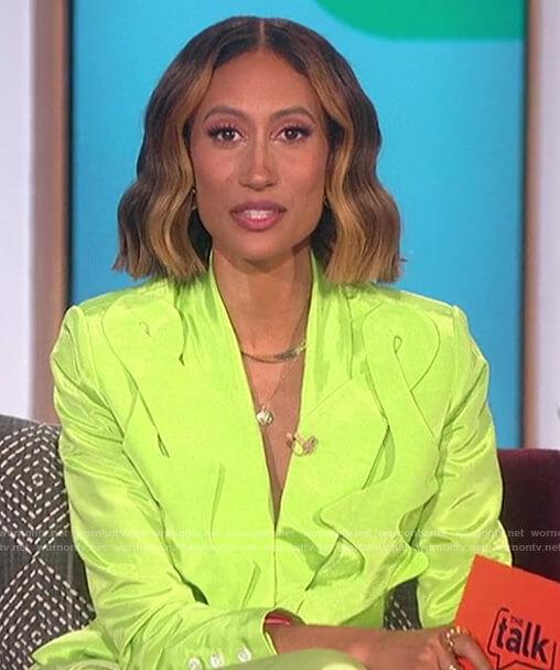 Elaine's neon squigle blazer on The Talk