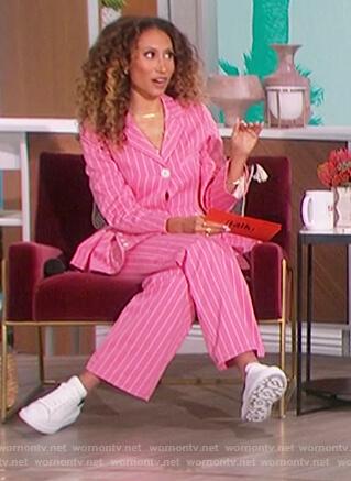 Elaine's pink stripe blazer and pants on The Talk