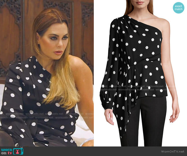 Kristy Polka Dot One-Shoulder Top by Elie Tahari worn by D'Andra Simmons  on The Real Housewives of Dallas