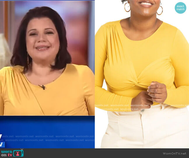 Twist Front Top by Eloquii worn by Ana Navarro  on The View