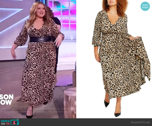 Wrap Maxi Dress by Eloquii worn by Lauren Ash on The Kelly Clarkson Show