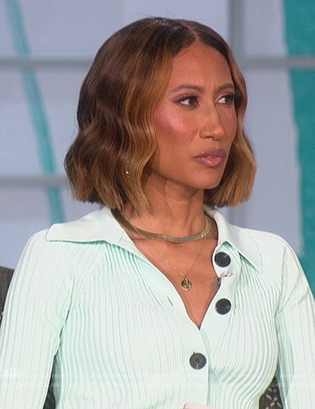 Elaine's mint ribbed cardigan and pants on The Talk