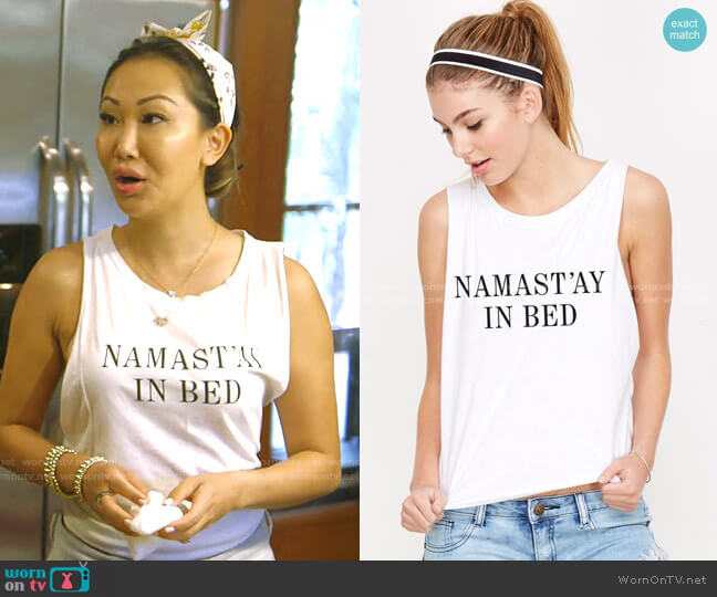 Namast'ay In Bed Muscle Tee by Emi Jay worn by Tiffany Moon  on The Real Housewives of Dallas