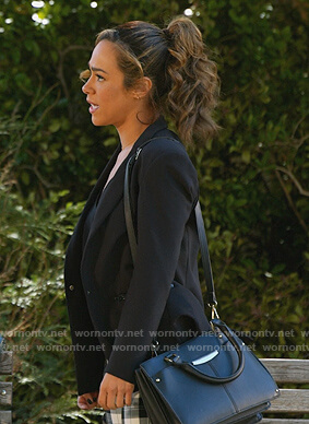 Emily's black blazer with zip pockets on All Rise