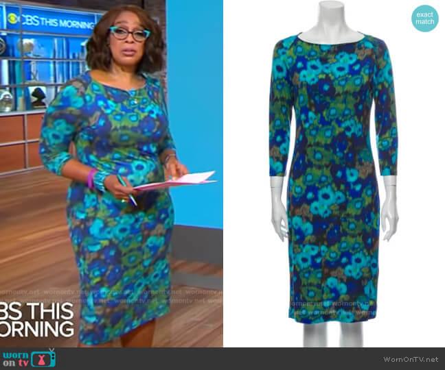 Erdem Ocean Meadow Dress worn by Gayle King  on CBS This Morning