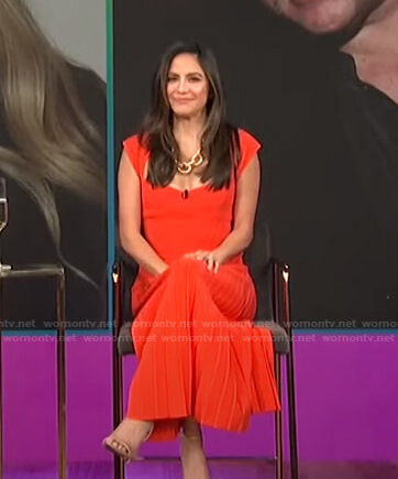 Erin's orange ribbed top and pleated skirt on E! News Daily Pop