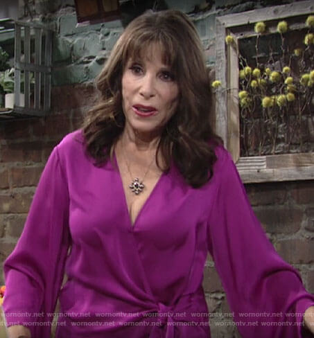 Esther's pink wrap blouse on The Young and the Restless