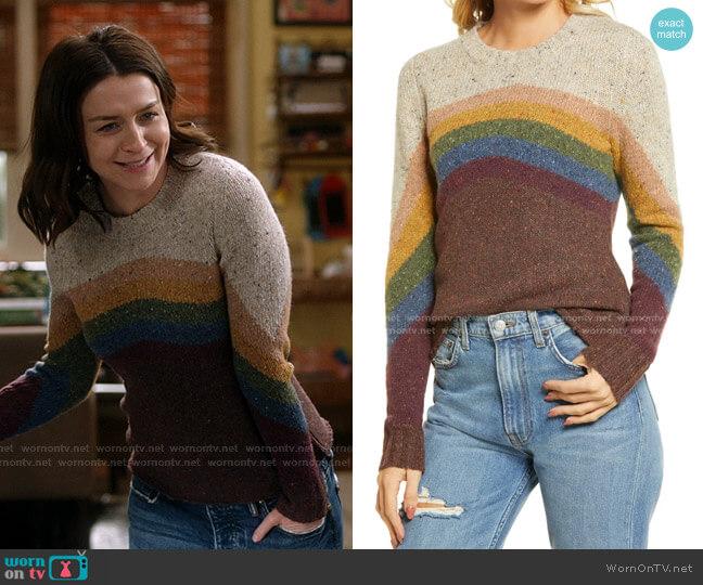 Sammy Crewneck Sweater by Faherty worn by Amelia Shepherd (Caterina Scorsone) on Greys Anatomy