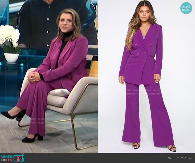 Young CEO Pant Set - Magenta by Fashion Nova worn by Jodie Sweetin on E! News Daily Pop
