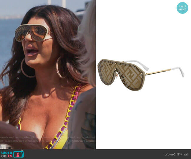 FF Shield Sunglasses by Fendi worn by Teresa Giudice  on The Real Housewives of New Jersey
