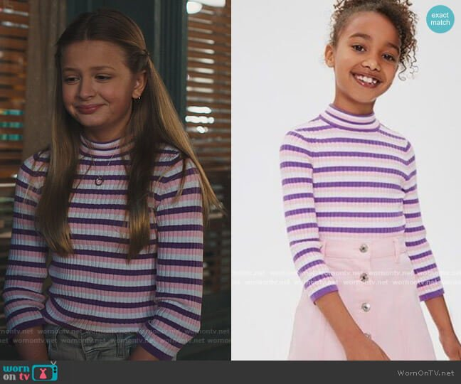 Ribbed Knit Sweater with Stripe Pattern by Forever 21 worn by Anna-Kat Otto (Giselle Eisenberg) on American Housewife